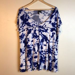 Cynthia Rowley Blue Tie Dye Cap Sleeve Top 1X
